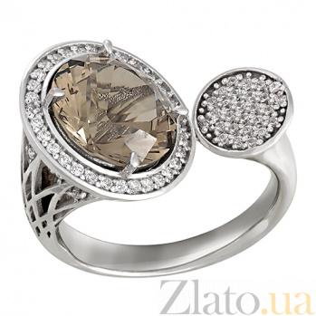 Золотое кольцо с раухтопазом и фианитами Авангард 000023933