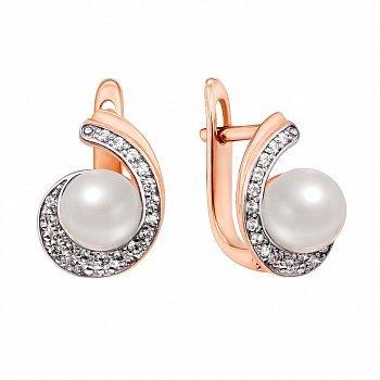 Золоті сережки у комбінованому кольорі з перлами та фіанітами 000132794