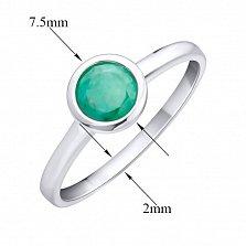 Серебряное кольцо Ревайт с завальцованным изумрудом