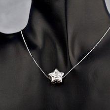 Золотая подвеска Звездное соло в белом цвете с бриллиантами