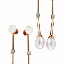 Золотые серьги-подвески с жемчугом и бриллиантом Одеон