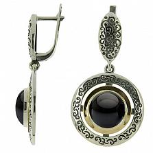 Серебряные серьги с ониксом и золотом Джоконда
