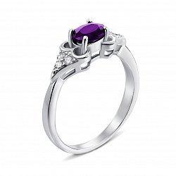 Серебряное кольцо с аметистом и фианитами 000133482