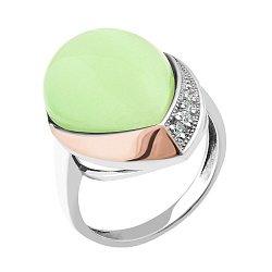 Серебряное кольцо с золотой накладкой, светло-зеленым улекситом и фианитами 000101116
