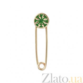Золотая брошь-булавка с зеленой эмалью Арлет 2В766-0002