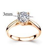 Кольцо из красного золота с бриллиантом Эпоха любви, 3мм