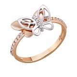 Кольцо в красном и белом золоте Полет бабочек с фианитами