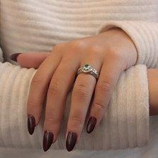 Серебряное кольцо Арина с дорожками на шинке, альпинитом и фианитами
