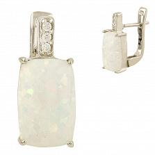 Серебряные серьги Эльза с опалом и фианитами
