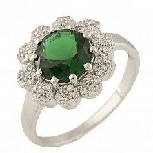 Серебряное кольцо Феодора с синтезированным изумрудом и фианитами