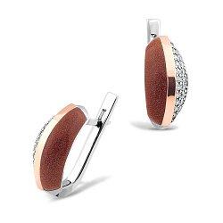 Серебряные родированные серьги с золотыми накладками, авантюрином и фианитами 000100835