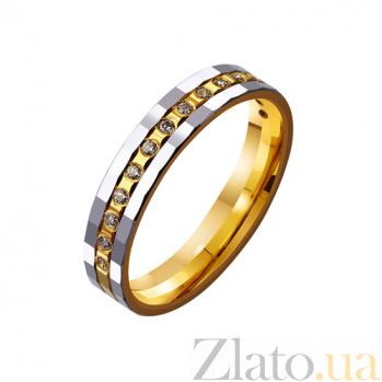 Золотое обручальное кольцо Любовь без границ с дорожкой из фианитов TRF--4421681