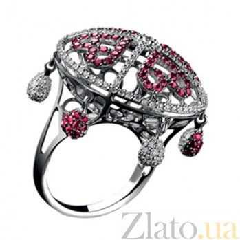 Золотое кольцо с рубинами и бриллиантами Шахерезада KBL--К1793/бел/руб