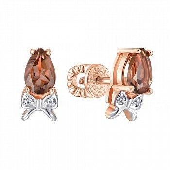 Серьги-пуссеты из красного золота с раухтопазами и фианитами 000137106
