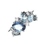 Серебряное кольцо Аллита с голубым кварцем и цирконием