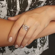 Серебряное кольцо Загадочность с завальцованными фианитами в стиле Луи Виттон
