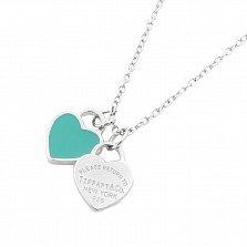 Серебряное колье Два сердечка с голубой эмалью в стиле Тиффани