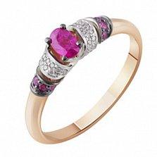 Золотое кольцо с  рубином и бриллиантами Принцесса Будур