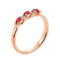 Кольцо из красного золота с рубинами и бриллиантами 000104493