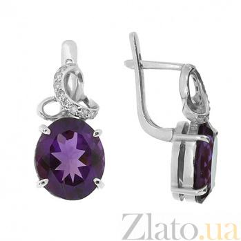 Серебряные серьги с бриллиантами и аметистами Мара ZMX--EDAm-6632-Ag_K