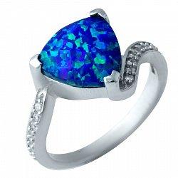 Серебряное кольцо Морская геометрия с плавными дорожками фианитов