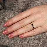 Золотое кольцо в евро цвете с сапфиром и бриллианами