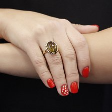 Золотой перстень Вандербильт в желтом цвете с оливковым турмалином