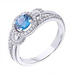 Серебряное кольцо Кириана с узорной шинкой, голубым кварцем и белыми фианитами