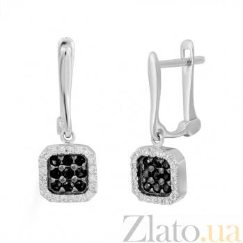 Золотые серьги с черными бриллиантами Ночное небо 000032322