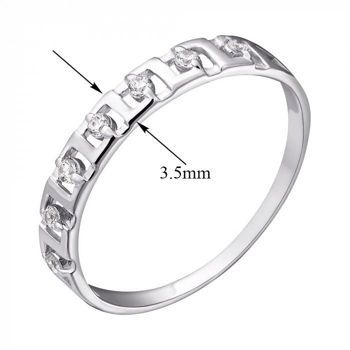 Кольцо из белого золота с фианитами 000001056 EDM--КД0436/1