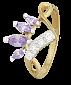 Позолоченное серебряное кольцо с фиолетовыми фианитами Веер 000025565