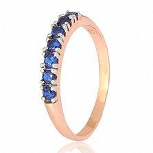 Позолоченное серебряное кольцо с синими фианитами Хельга