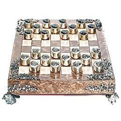 Серебряные шашки с позолотой, черной и белой эмалью 000004358