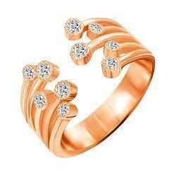 Серебряное кольцо с фианитами и позолотой 000045415