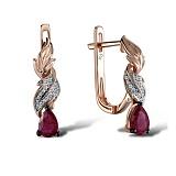Серьги в красном золоте Мириам с рубином и бриллиантами