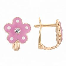 Детские золотые серьги с розовой эмалью Цветок