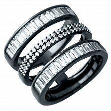 Серебряное кольцо Галадриэль с фианитами и черным родием