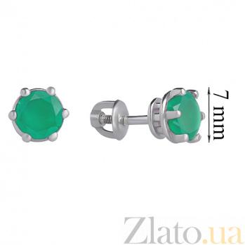 Серебряные серьги-пуссеты с зелёным агатом Лея