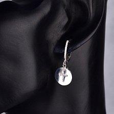 Серебряные серьги-подвески Мировая ось с крестиками и фианитами