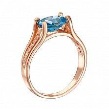 Кольцо из красного золота с топазом и фианитами 000134386