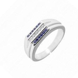 Серебряное кольцо с рубинами и бриллиантами 000098937
