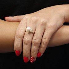 Кольцо из желтого золота Нереида с белым жемчугом и бриллиантами