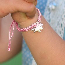 Детский плетеный браслет Единорог с эмалью и фианитом, 10х20см