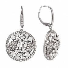 Серебряные серьги Буйство природы с фианитами