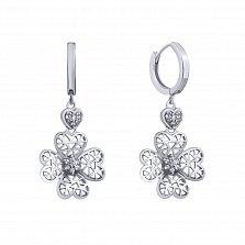 Серебряные серьги-подвески Ажурный цветочек с сердечками и фианитами