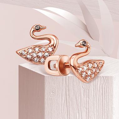 Серьги-пуссеты Лебеди в красном золоте с фианитами