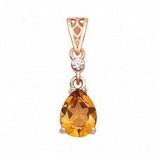 Золотой кулон Джанна в красном цвете с цитрином и кристаллом циркония