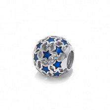 Серебряный ажурный шарм Звездное небо с синей эмалью