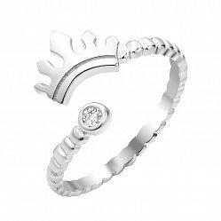 Серебряное разомкнутое кольцо с короной и фианитом 000112723