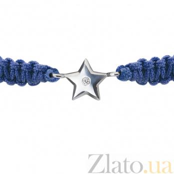 Детский плетеный браслет с cеребряной вставкой и фианитом Звездочка 8-8см 000080631